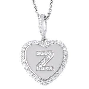 Letter Z Initial Heart CZ Pendant Sterling Silver